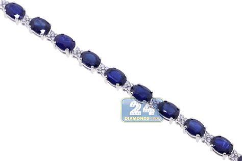 womens blue sapphire bracelet 18k white gold 19 63