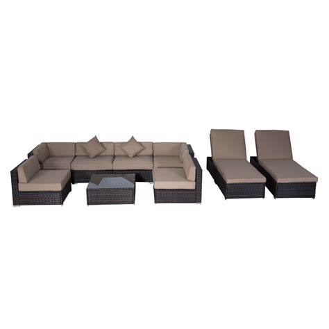 Outsunny Modern 9 Piece Outdoor Patio Rattan Wicker Sofa Wicker Sectional Patio Furniture