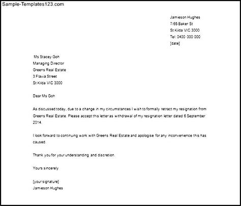 Withdrawal Letter Resignation Cancellation Of Resignation Letter Sle Word Doc Sle Templates