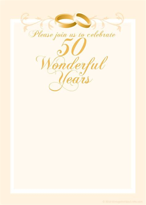 50th Anniversary Card Template by Free Anniversary Invitation Templates Cleavercrafts