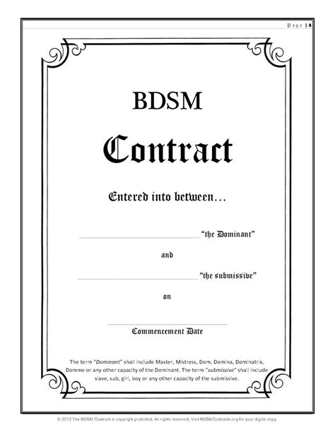 consentual slavery bdsm dominant submissive contract