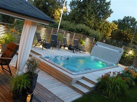 backyard spa hydropool 19fx swim spa in multi tiered decking pool