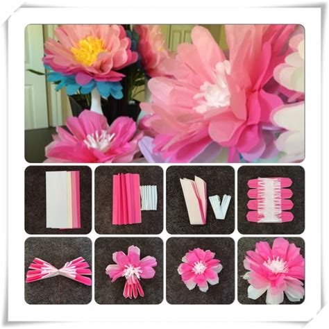 tissue paper flower wall tutorial tissue paper flower diy tutorial diy pinterest