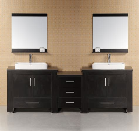 96 inch modern double vessel sink bathroom vanity set
