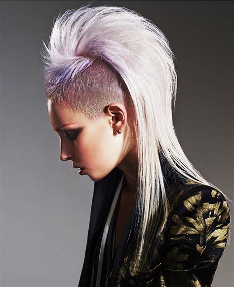stright back long mohokes long blonde straight coloured multi tonal punk purple