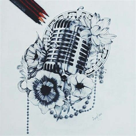 microphone flower tattoo microphone tattoo just because i love singing and music