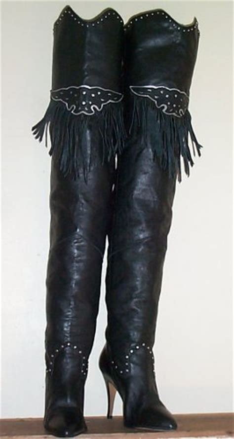 pair black leather fringe thigh high boots sz 8