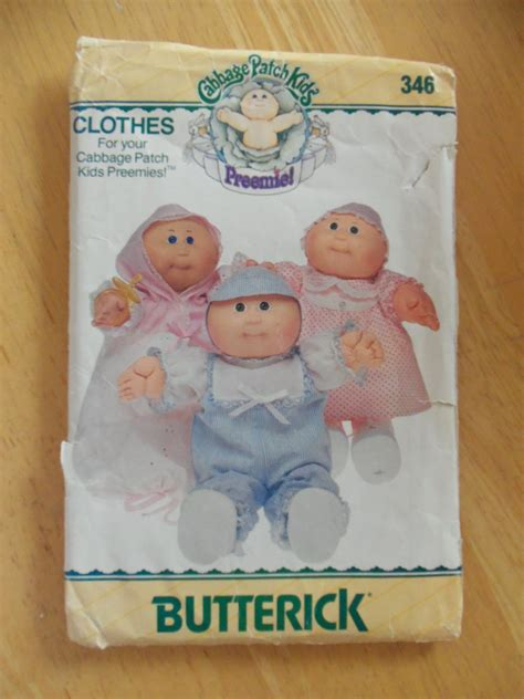 free knitted cabbage patch doll clothes patterns original butterick cabbage patch doll preemie pattern 346