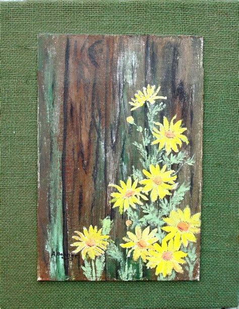 acrylic paint on burlap canvas acrylic painted daisies on wood with burlap by