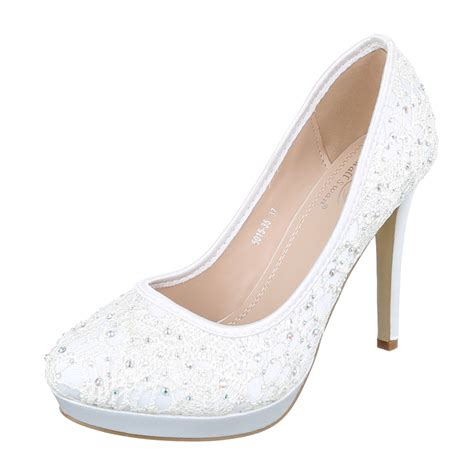 Weisse Pumps Mit Strass by Damen Pumps Schuhe Strass High Heels Pfennigabsatz Real