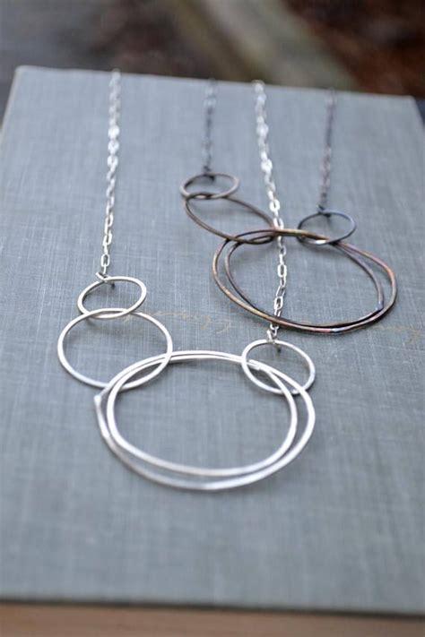 Multi Circle Necklace asymmetric multi circle necklace large circle necklace