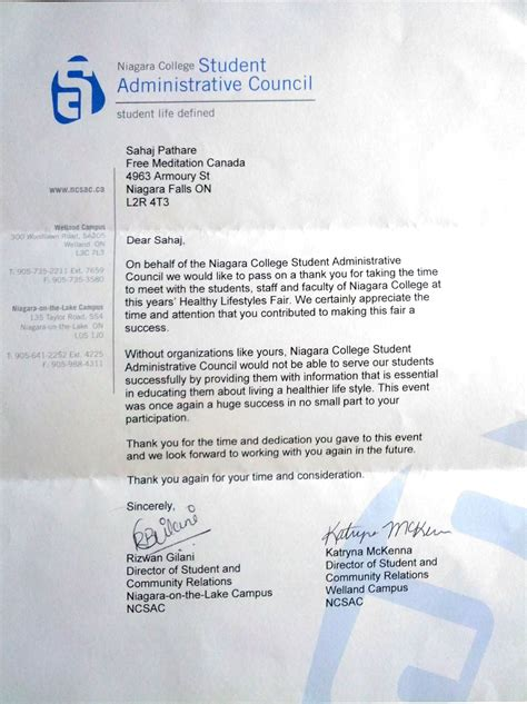 Niagara College Acceptance Letter Appreciation Letter From Student Council For Free Meditation Services Sahaja Halton