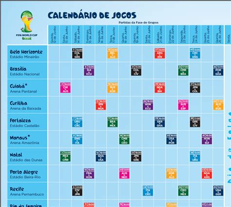 Calendario Copa Calend 225 De Jogos Da Copa Do Mundo 2014