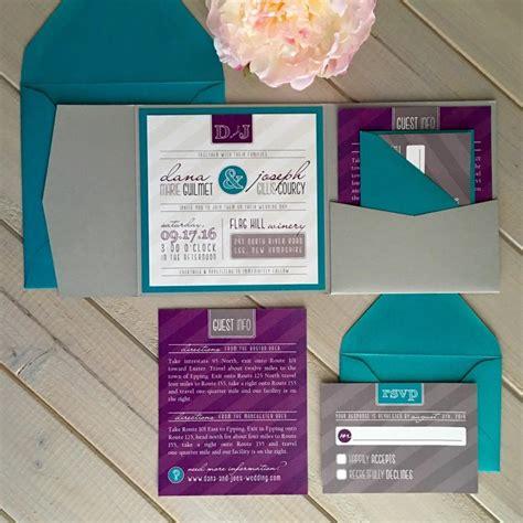 Unique Pocket Wedding Invitations by Modern Wedding Invitations Purple And Teal Wedding