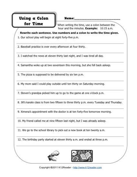 Semicolon And Colon Practice Worksheet by Colons And Time Free Printable Punctuation Worksheets
