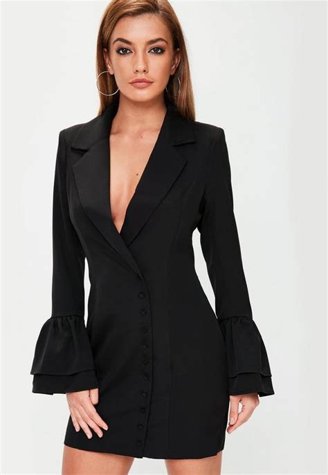 Black Dress Dress Black Dress Blue Dress Blazer black frill sleeve blazer dress missguided