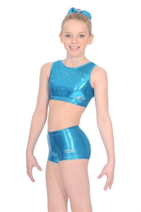 preteen models zone chic shiny nylon lycra gymnastics crop top with crystals
