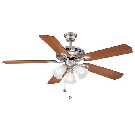 hton bay glendale 52 in brushed nickel ceiling fan hton bay glendale 52 in indoor brushed nickel ceiling