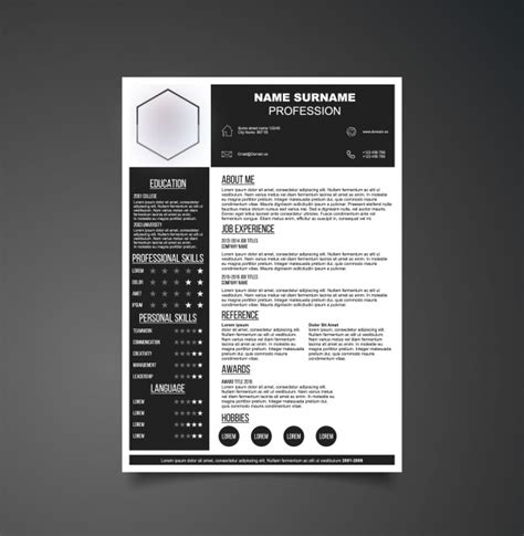 Black And White Resume Template Vector Free Download Black And White Resume Template