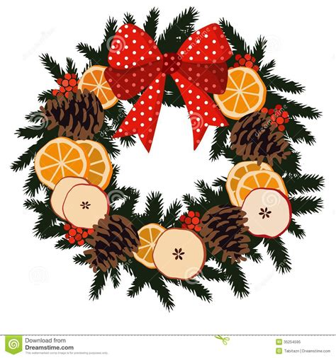 Apple Christmas Tree Ornaments - traditional christmas wreath with dried fruit or royalty free stock photo image 35254595