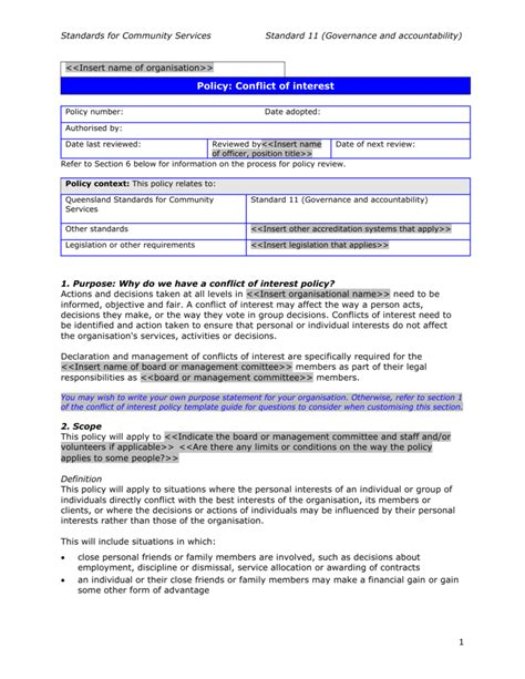 conflict of interest policy template template conflict of interest policy template