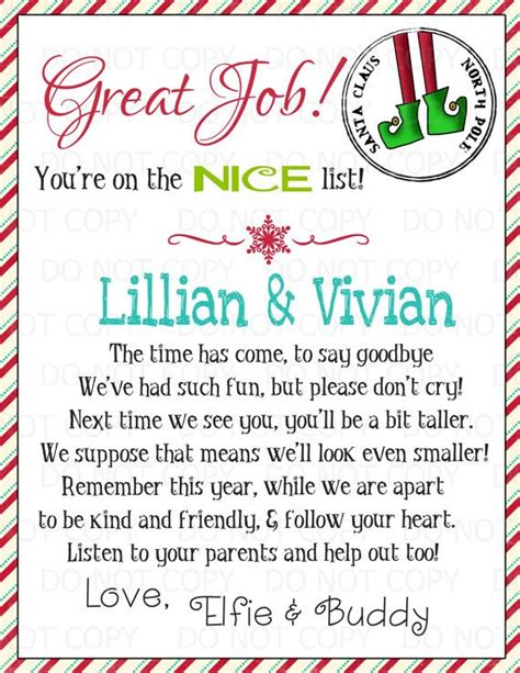 printable elf on the shelf rules printable personalized elf goodbye letter by