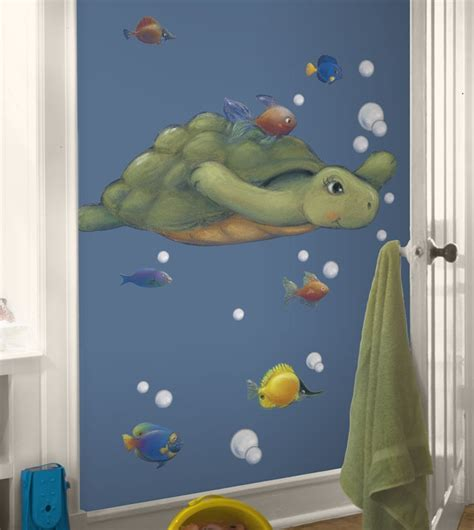 Fish Themed Bathroom Accessories Bathroom Decor Sea Turtle With Tropical Fish Large Self Adhesive Repositionable