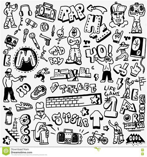 doodle hip hop rap hip hop graffiti doodles set stock vector image