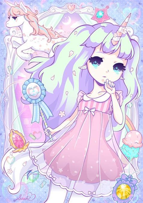 Anime Unicorn by Kawaii Anime Chibi And Unicorn Pastel Colours