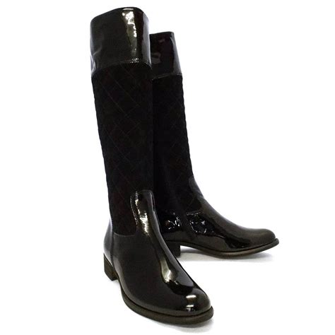 black boots gabor boots gatsby womens long boot in black patent mozimo