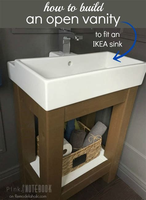 How To Make Vanity by Remodelaholic Build A Simple Open Vanity For An Sink