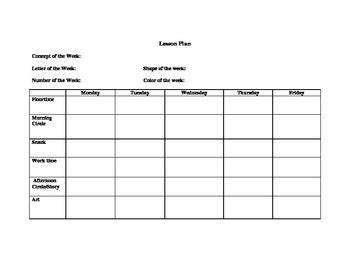 Easy To Use Preschool Lesson Plan Template By Michele Asis Tpt Simple Lesson Plan Template For Preschool