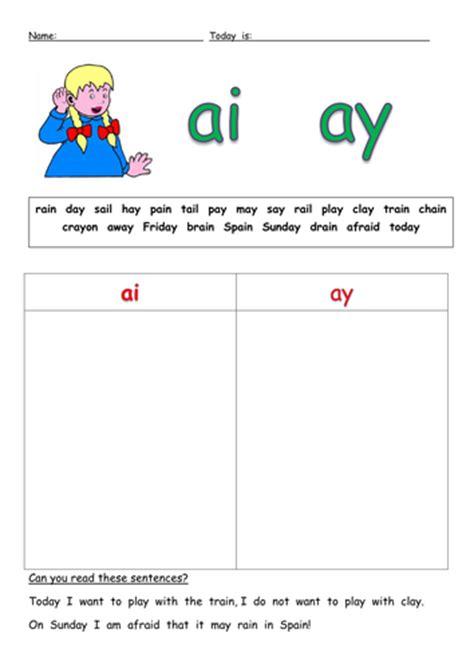 Ai And Ay Worksheets by Ai Ay Sort Docx Teaching Phonics
