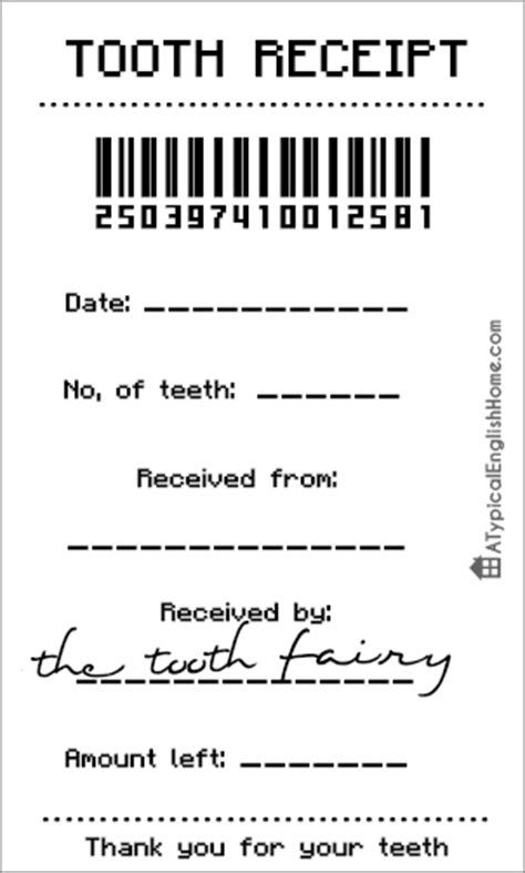a typical home free tooth receipt template