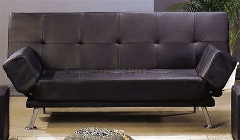 black leather  finish contemporary sofa bed wchrome legs