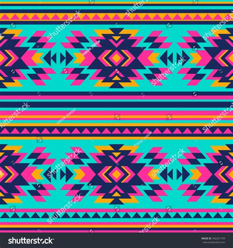 geometric neon pattern neon color tribal navajo seamless pattern stock vector