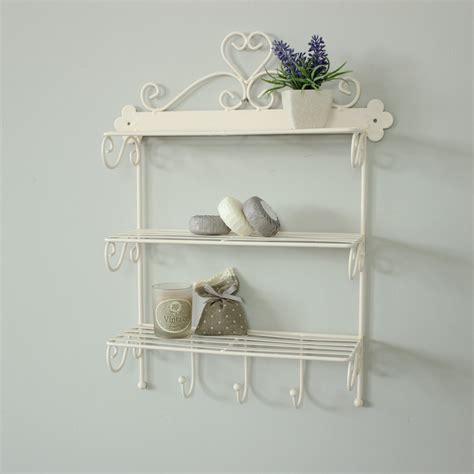 Bathroom Shelves With Hooks Ivory Wire Wall Shelving With Hooks Kitchen Bathroom Storage Bottles Hooks