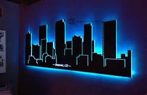led lighted denver skyline wall