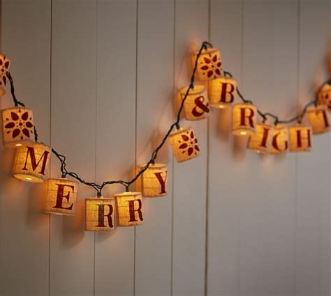 burlap lantern string lights burlap merry bright string lights pottery barn