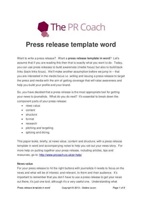 template of a press release press release template word