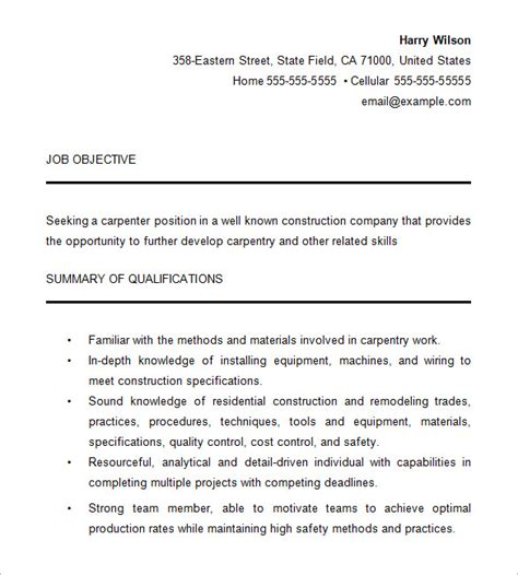 Australian Resume Sles 2015 resume templates for a carpenter carpenter resume template