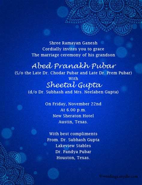 Wedding Invitation Wording India by Indian Wedding Invitation Wording Sles Wordings And