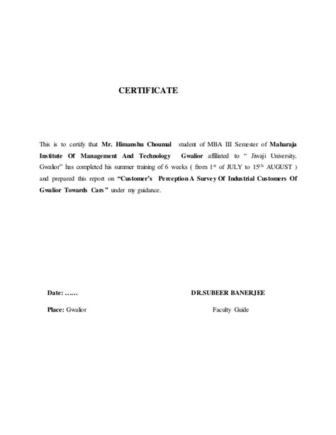 Summer Report For Mba by Summer Report Mba