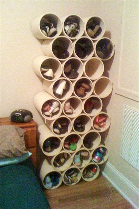 shoe rack pvc pipe how to build a low cost shoe rack using pvc pipes 171 macgyverisms wonderhowto