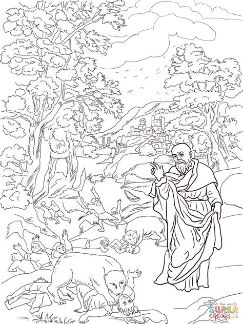 elisha and the bears coloring page free printable