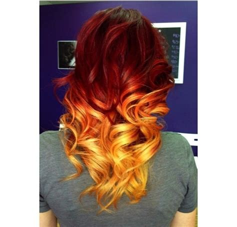 red and blonde hombre pics fire affect dip dye hair dip dye hair pinterest dip