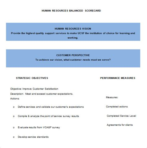 hr balanced scorecard template 13 balanced scorecard templates pdf doc xls free