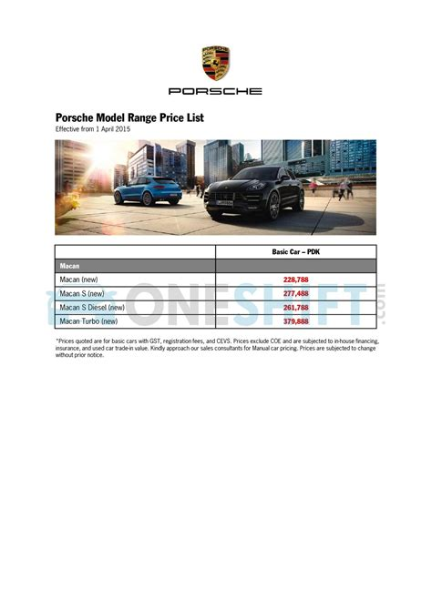 porsche list prices porsche singapore printed car price list oneshift