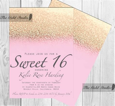 sweet 16 invitation templates sweet 16 invitation sweet sixteen pink gold glitter