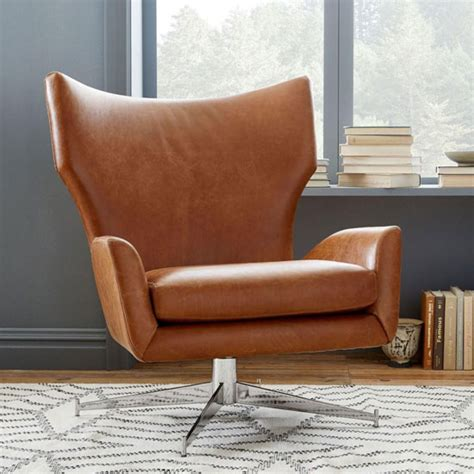 west elm armchair 1960s style hemming leather swivel armchair at west elm retro to go